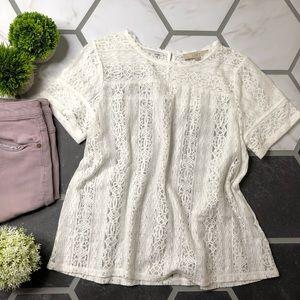 Loft white lace shirt sleeve blouse